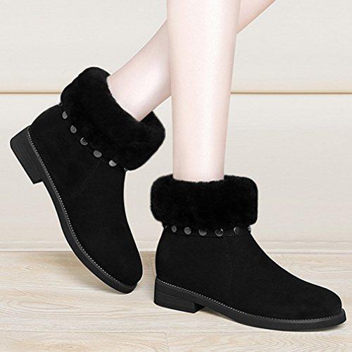 Rond Neige Chaud Bottes Duvet Femmes Artificielle Bloc Laine Hiver Noir Boots Chaussures Bsaae Classique Rivet 37 Inconnu BSwnS