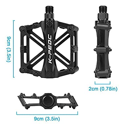 """GPMTER Bike Pedals for Mountain Road BMX Bicycle with 16 Anti-Skid Pins -Universal Lightweight Aluminum Alloy Platform Pedal - Universal 9/16"""" for MTB Travel Cycle-Cross Bikes etc"""