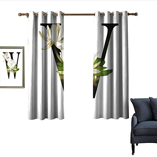 imple Curtain Water Lily Flower Arrangement Nature Inspired Alphabet Design Floral Print Darkening and Thermal Insulating 63