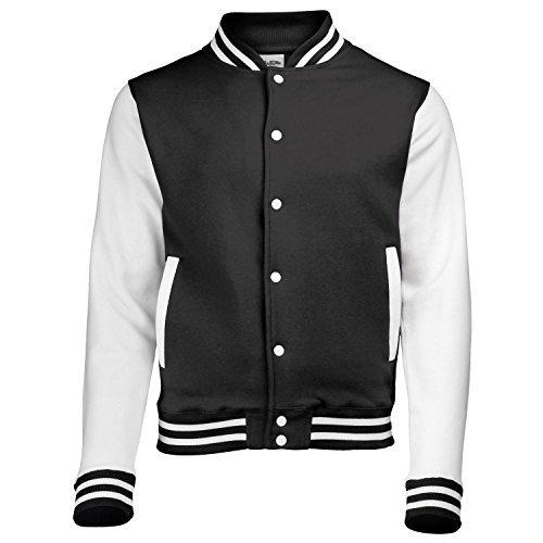 AWDis Hoods Varsity Letterman jacket Jet Black/White L]()