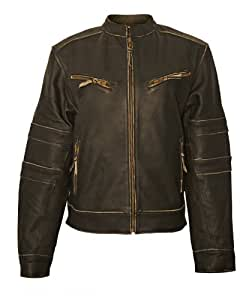 Milwaukee Motorcycle Clothing Company Ladies Distressed Leather Jacket with Zip Out Liner (Black, X-Large)