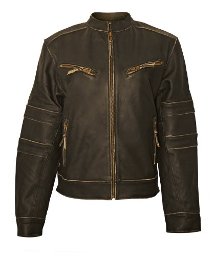 Milwaukee Motorcycle Clothing Company Ladies Distressed Leather Jacket with Zip Out Liner (Black, X-Small) (Liner Quilted Zip Out)