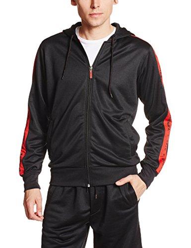 - Diesel Men's Motion Division Brandonz Zip Hoody, Black/Red Stripe, Large