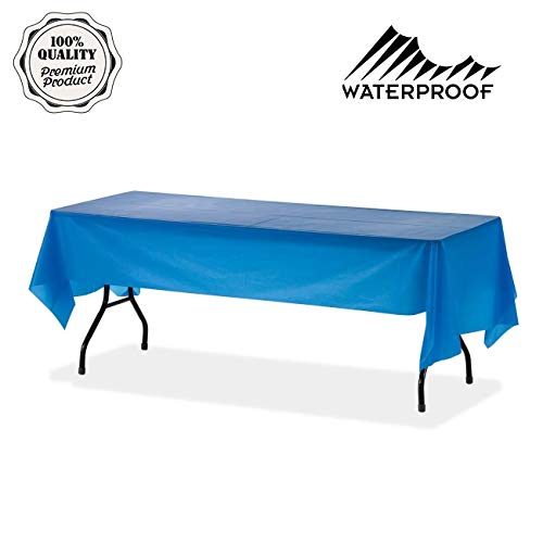 Alazan Premium Rectangle Table Cloths – 1pack 54 x 108 inch Dimensions Blue Rectangle Plastic Vinyl Tablecloth Parties New Year 2019 Christmas Party Supplies for Rectangular Tables Cloth