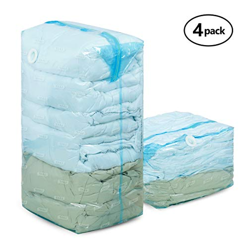 TAILI Cube Vacuum Space Saver Bags Set of 4 (2 Jumbo 31x40x15 inch & 2 Large 23x27x12 inch) Compressed Storage Bags for Pillows Comforters, Pillows, Bedding, Blankets, Clothes - Tip Jumbo Bag