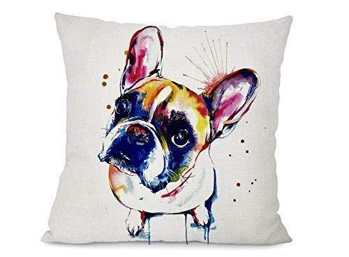 Little Cloud Designs Altitude Boutique Dog Art Pillow Cover (French Bulldog Brown), Decorative Pillow Cases - French Decorative Pillow