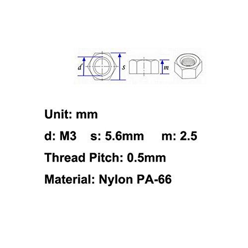 Hexagonal. Electronics-Salon 100pcs M3 Metric Black Nylon Hex Nut
