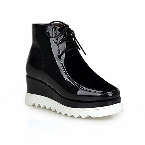 AdeeSu Womens Casual Square-Toe Wedges Urethane Boots SXC01992 Black Ctjnjt9L