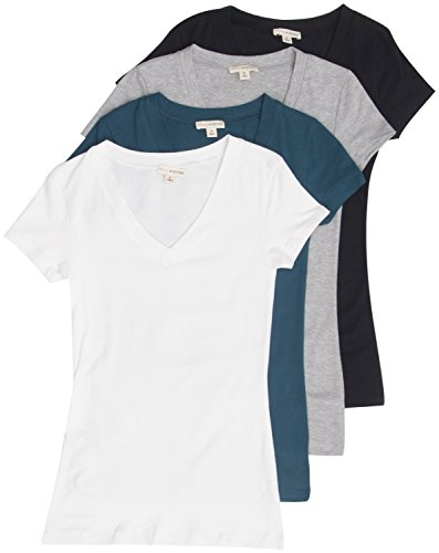 4 Pack Zenana Womens Basic V-Neck T-Shirts Large Black, White, Teal, H Gray Outfitter Pack