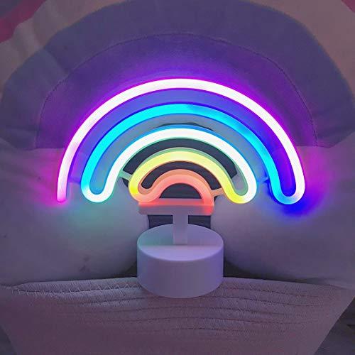 (LED Rainbow Sign Shaped Decor Light,Rainbow Wall Decor Kids Night light for Christmas,Birthday party,Kids Room, Living Room,Wedding Party Decor)
