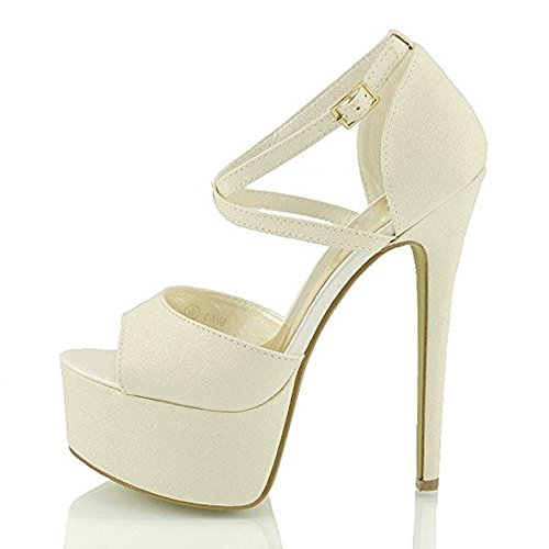 Damen Open Toe Plateau Stiletto High Heel Pumps Schluepfen Knoechel Cross Strap Buckle Party Schuhe Milchweiß