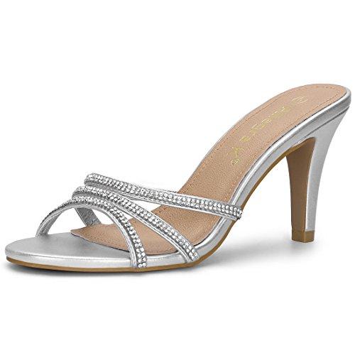 Allegra K Women's Rhinestone Strappy Heel Silver Mules - 7 M US