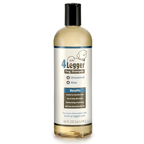 4-Legger Certified Organic Hypoallergenic All Natural Aloe Dog Shampoo - Unscented - Gentle Moisturizing - Conditioning for Soothing Relief of Dry, Itchy, Sensitive Allergy Skin - Made in USA - 16 oz