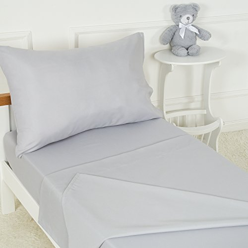 Crib Bedding Bed Set - TILLYOU 3-Piece Microfiber Toddler Sheet Set (Light Gray, Fitted Sheet, Top Flat Sheet and Envelope Pillowcase) - Crib Sheets Set Toddler Bed Set - Baby Bedding Sheet & Pillowcase Sets