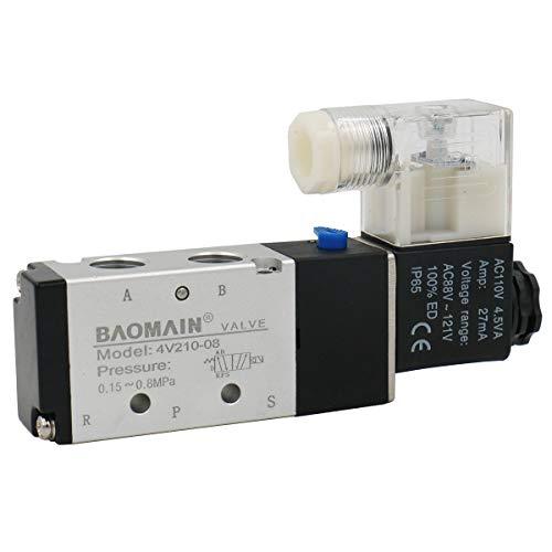 Baomain Solenoid Valve 4V210-08 AC 110V 2 Position 5 Way PT1/4
