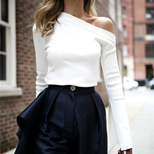 Chic Fit paules Tshirt Mode Bouffant Printemps Haut Nues Femme Costume Unique Epaule Shirt Elgante Unicolore Shirts Shirt Blanc Slim T Mode Jeune Trendy Manches Une Longues OafnvETvwq
