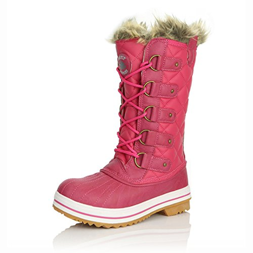 DailyShoes Women's Lace Up Knee High Artic Warm Fur Water Resistant Eskimo Snow Boots, 9 Hot Pink