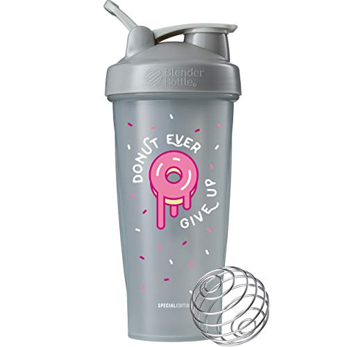 (BlenderBottle Just for Fun Classic 28-Ounce Shaker Bottle, Donut Ever Give Up)