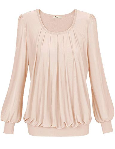 Long Sleeved Front (Timeson Womens Long Sleeved Work Blouses Womens Long Sleeve Scoop Neck Pleated Front Fitted Blouse Top Large Beige)
