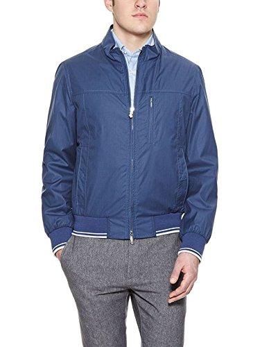 Longhi Coated Cotton Italian Track Jacket w/ Leather Detailing (Size 50 IT; Medium) Coated Cotton Linen Jacket