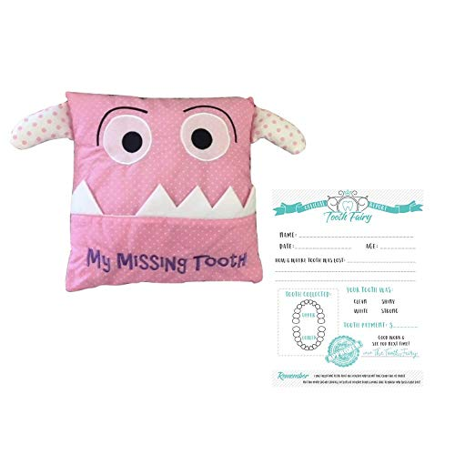 (Bek Brands Children's My Missing Tooth Pillow for Tooth Fairy and Official Tooth Collection Report (Pink, Large))