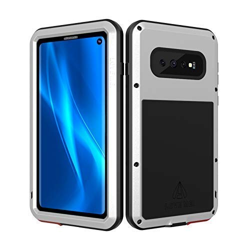 - LOVE MEI Samsung Galaxy S10 Case with Built-in Glass Screen Protector, Full-Body Wireless Charging Sturdy Cover Shockproof Dustproof Metal and Silicone Heavy Duty Case for Samsung Galaxy S10 (Silver)