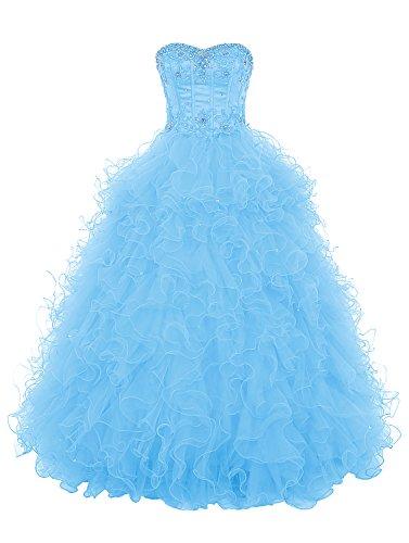 Dresstells®Vestido Princesa Largo Escote Corazón Gala De Noche Fiesta Quinceañera Azul