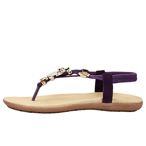 Femmes Vente Chaude Confort Sparkle Cristal T-strap Flip Flop Robe Plate Sandales Violet