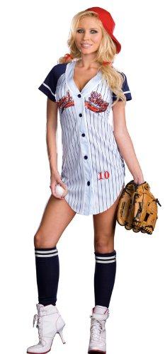 Womens Baseball Player Costume (Dreamgirl Women's Grand Slam Baseball Costume, Lt. Blue)