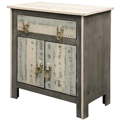 Collective Design 720354124121 Transitional Distressed 2-Door 1-Drawer Solid Pine Grey White + Sky Blue Driftwood Cabinet Gray