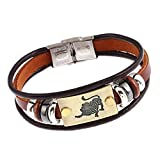 Wintefei Constellations Unisex Retro Wooden Beads Faux Leather Bracelet Bangle - Leo