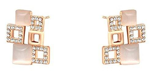 [Daesar Gold Plated Earrings Womens Stud Earring Cz Earrings Square Earring Rose Gold 1.2X2.1CM] (Princess Zelda Costume Cheap)