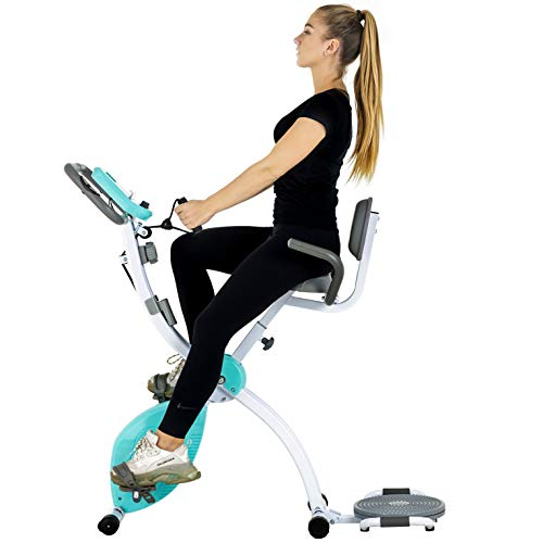 Murtisol Folding Stationary Bike Foldable Exercise Bike Indoor Cycling W/Twister Plate, Arm Resistance Bands, Extra Large&Adjustable Seat and Heart Monitor for Home Cardio Workout,Blue