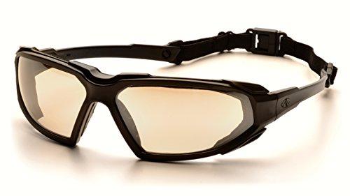 Pyramex Highlander Safety Eyewear, Black Frame/Indoor/Outdoor Mirror Anti-Fog - Glasses Sun Google