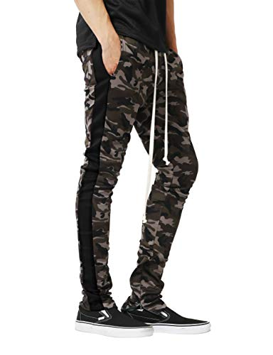 (Mens Stripe Track Three Tone Pants Skinny Fit Stretch Casual Athletic Joggers (Small, tpt450b_camo/Black))