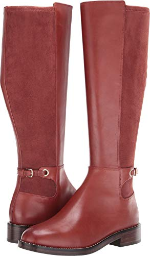 (Cole Haan Women's Parker Grand Flat Stretch Boot Cherry Mahogany Leather/Cherry Mahogany Stretch Suede 7 B)