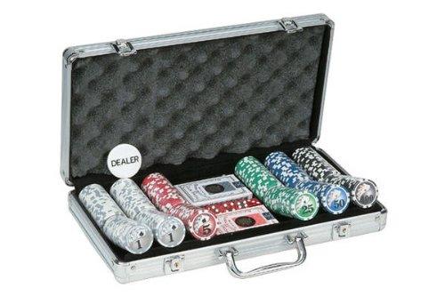 300 Piece Big# Design Poker Chips in Aluminum Case, Silver Color