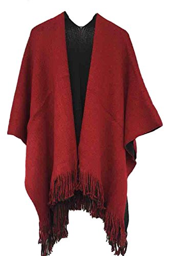 Timemory Womens Winter Solid Knitted Cashmere Poncho Capes Shawl Sweater Purplish Red Purplish Red One Size