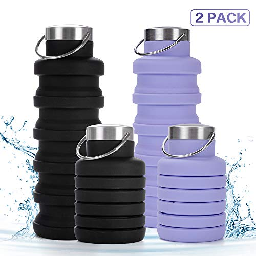 Rosoz Collapsible Water Bottle, Reuseable BPA Free Silicone Foldable Water Bottle for Travel Camping Outdoor and Gym, Leak-Proof Lightweight Portable Sports Water Bottle (Black&Purple)