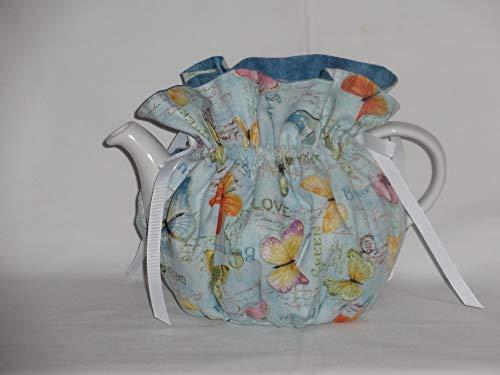 Hall Teapot Colors - Pretty Butterflies on Blues 6 Cup Reversible Tea Pot Cozy