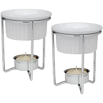 HIC Harold Import Co. 43678 HIC Butter Warmers with Tealight Stand, Ceramic, Set of 2, White/Silver