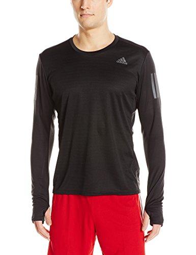 adidas Mens Running Response Long Sleeve Tee, Black, Medium