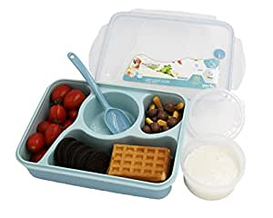 Bento Box Lunch Box 3-compartment 1-bowl (4 in 1) 1- Spoon - Silicone Leakproof Healthy Lunch Boxes for Kids Adults - Food Grade Plastic Containers Crisper - Special Smart Valve Microwave-safe (Blue)