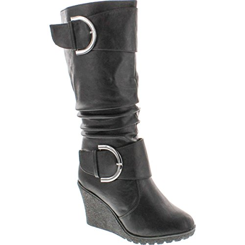 - Top Moda Womens Pure-65 Mid Calf Round Toe Slouched Wedge Heel Boots,Black,6