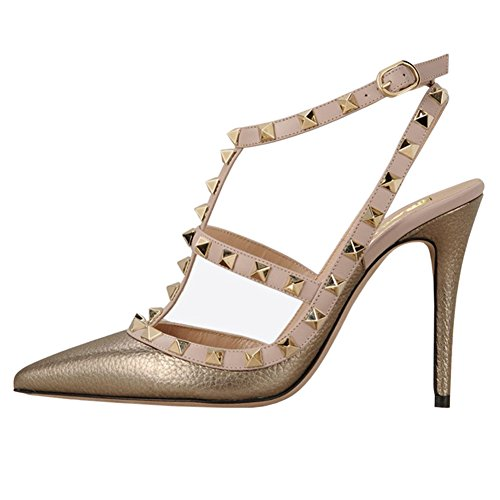 EKS Women's Pointed Toe Rivets Straps Strappy Stilettos Pump Heels Dress Party Sandals Gold Color With Pattern
