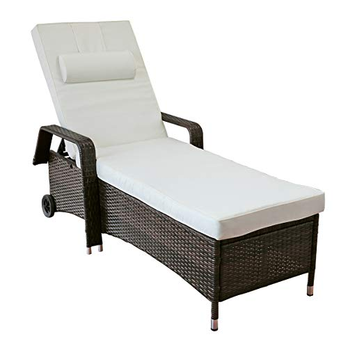 Yardeen Chaise Lounge Outdoor Wicker Rattan Reclining Chair Seats Adjustable All-Weather Outdoor Sunbed Garden Furniture