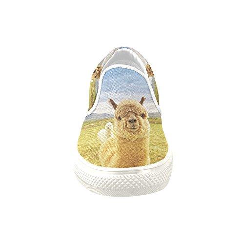 D-story Anpassade Sneaker Lyckliga Alpacas Kvinnor Ovanlig Slip-on Tygskor