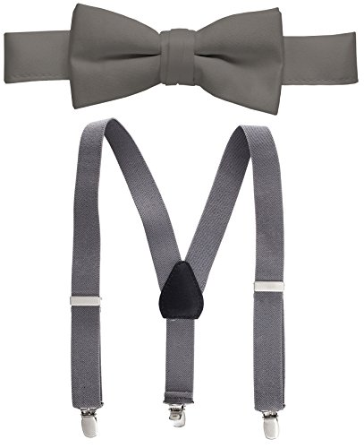 - Hold'Em Suspender and Bow Tie Set for Kids, Boys, and Baby -Gray 30