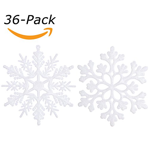 Sea Team Plastic Christmas Glitter Snowflake Ornaments Christmas Tree Decorations, 4-inch, Set of 36, White (Plastic Christmas Decoration)