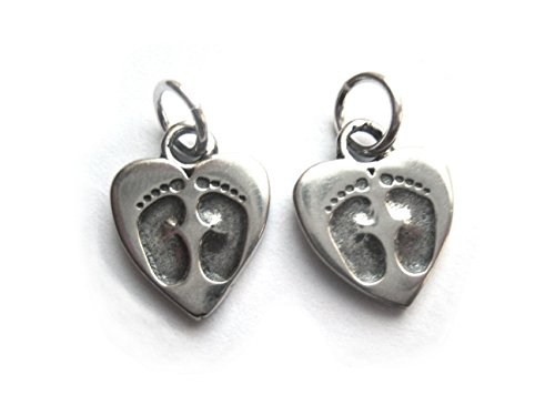 (2 Qty. Baby Feet on Heart Charm .925 Sterling Silver by)